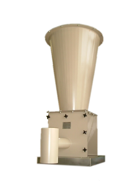 A  medium capacity single screw Loss In Weight feeder with a 200 litre conical extension hopper in mild steel painted finish, also available  in stainless steel